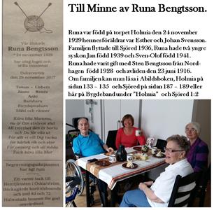 Till minne av Runa Bengtsson 1929 - 2017