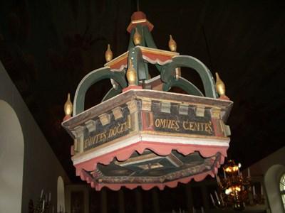 Baldakin över dopfunten i Askome kyrka