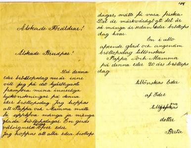 Berta Lundqvist, Askome 502 Gamla skolan, brev