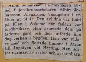 Albin Johansson, Klev 203, Askome