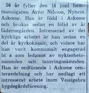 Artur Nilsson, Nyhem 101, Askome
