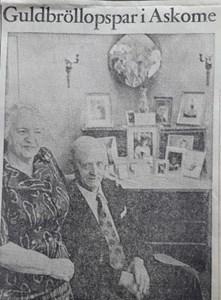 Gustav Persson och hans hustru, Askome Kungsbacka 205, guldbröllop.
