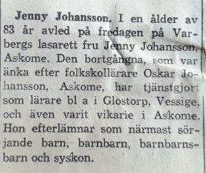 Jenny Johansson, Askome 503, gamla lärarbostaden.