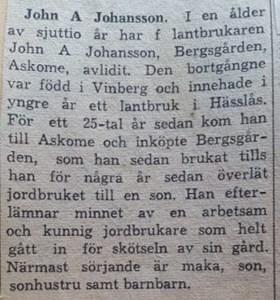 John A Johansson, Ryssgärde Bergsgården 203
