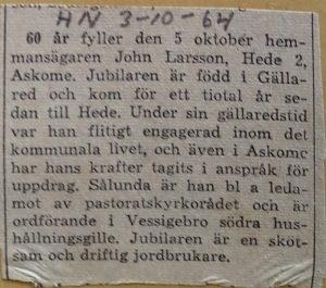 John Larsson, Hede 224