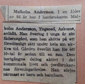 Malkolm Andersson, Yngered 102 Askome