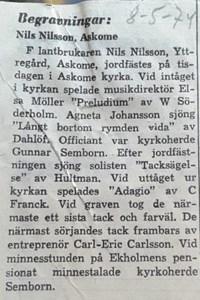 Nils Nilsson, Yttregård, Askome