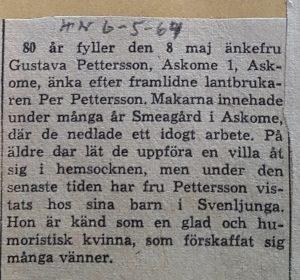 Gustava (Stava) Pettersson, Smeagård