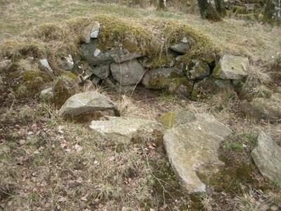 Rester av jordkällaren till Backstugan Kohagen. Byggnaden, som troligen uppfördes på 1850-talet, låg i närheten. Marken tillhör i dag Hede 224.