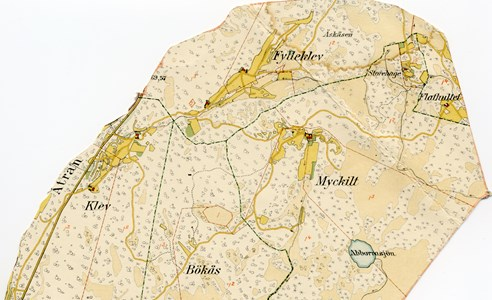 Karta över Klev, Fylleklev, Flathultet, Myckhult, Bökås 1919-25.