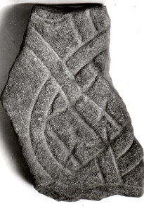 Fragment av röd sandsten, funnet på Lagnö.