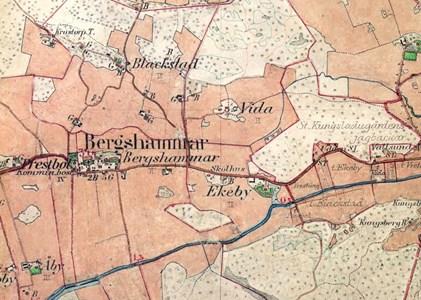 Brergshammars kyrkby på häradskartan