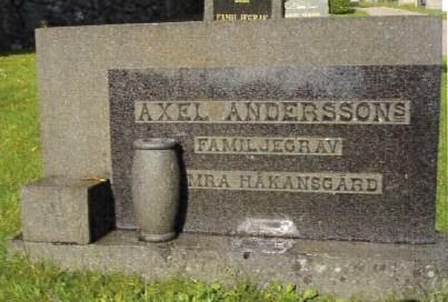 Gravsten, Axel och Hilma Andersson, Hamra Knutsgård.