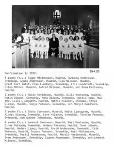 Huaröd Konfirmandgrupp 1939