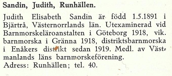 Barnmorskan Judit Sandin