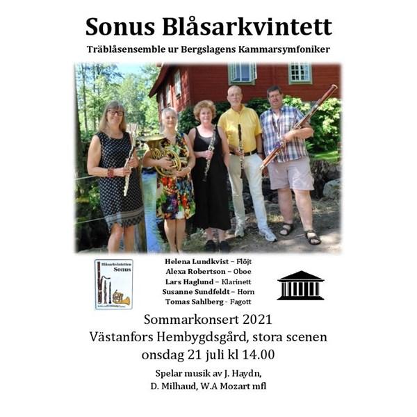 Sonus Blåsarkvintett 2021, rekt ons 21 juli kl 14