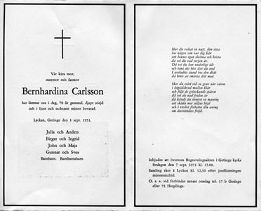 Bernhardina Carlsson, Inbjudan begravning