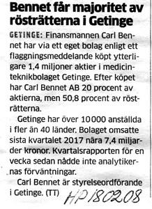 180202 Getinge AB