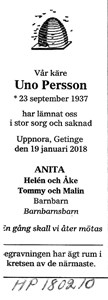 180210 Dödsannons Uno Persson