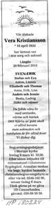 180224 Dödsannons Vera Kristiansson