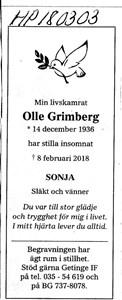 180303 Dödsannons Olle Grimberg