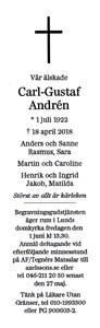 180418 Dödsannons C G Andrén