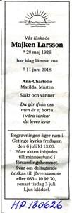 180626 Dödsannons Majken Larsson