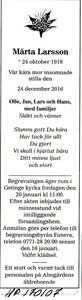 170107 Dödsannons Märta Larsson