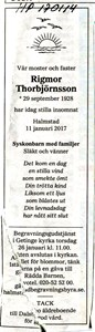 170114 Dödsannons Rigmor Thorbjörnsson