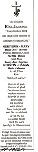 170219 Dödsannons Elsa Jansson