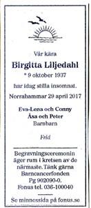 170429 Dödsannons Birgitta Liljedahl