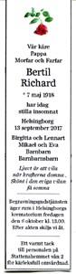 170913 Dödsannons Bertil Richard