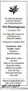 171007 Dödsannons Vivi Henningsson