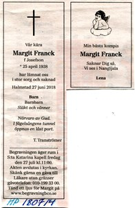 180714 Dödsannons Margit Franck