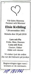 180721 Dödsannons Elsie Kvibling