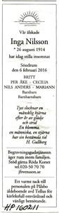 160211 Dödsannons Inga Nilsson