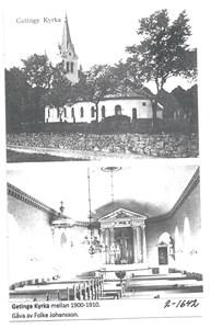 Getinge kyrka mellan 1900-1910. 2-1642