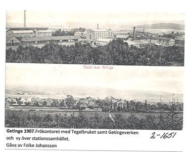 Getinge 1907. Frökontoret, Tegelbruket och Getingeverken. 2-1651