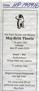 190416 Dödsannons Maj Britt Torin