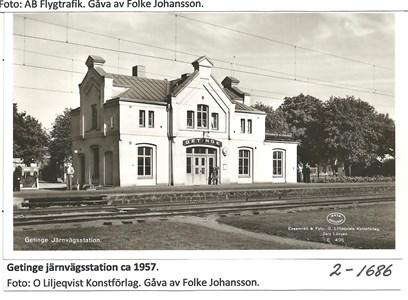 Getinge järnvägsstation ca 1957. 2-1686
