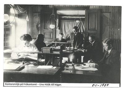Kontorsmiljö på Frökontoret 1912. 8-1-1787