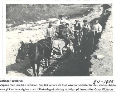 Getinge Tegelbruk. Hämtning av lera från Lerhålan. 8-1-1888