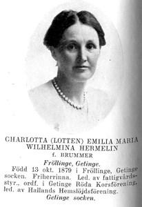 Charlotta (Lotten) Emilia Maria Wilhelmina Hermelin f Brummer