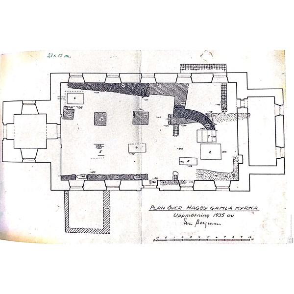 Plan över Hagby gamla kyrka