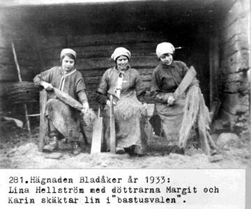0281 Hägnaden Bladåker 1933. Linet skäktas.jpg