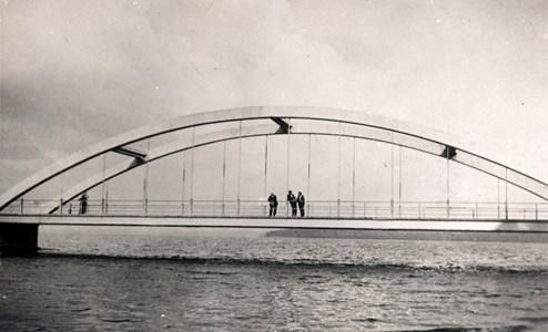 Bygge Hjälmaresund bro färdig ca 1929