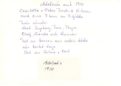 Baksidan Kort Adelsnäs 1910