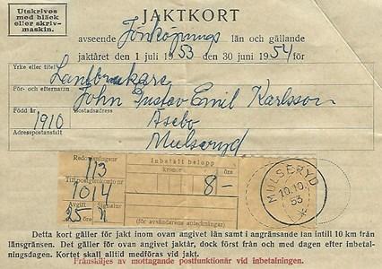 Jaktkort från 1953, det kostade 8 kronor