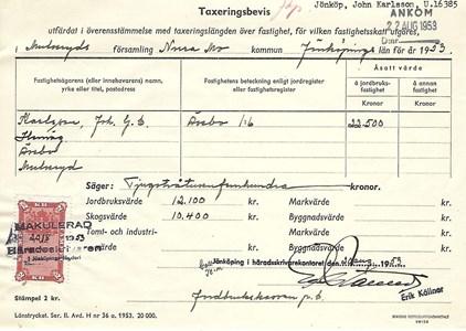 Taxeringsbevis 1953