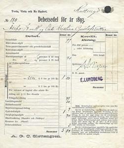 Debetsedel 1893 för Kristina Gustafsdotter